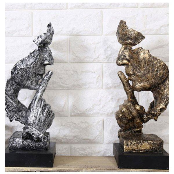 Kreative Denker Statuen Retro Abstrakte Charaktere Figur Nicht Hören / Sprechen / Schauen Miniatur Skulptur Home Desktop Handwerk Geschenk Q190426