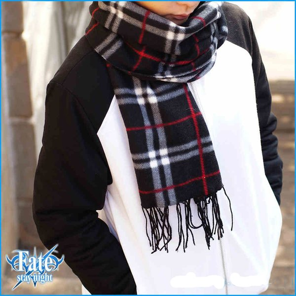 Anime Fate stay night Saber Emiya Shirou Plus Length lattice Knitted Cosplay Scarf Winter Neckerchief in stock free shipping