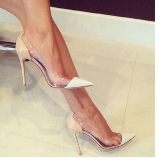 {Original Box} Latest Fashion Women High Heels Exclusive Leather and PVC Pointed Toe Pumps Dress Shoes size 34-45