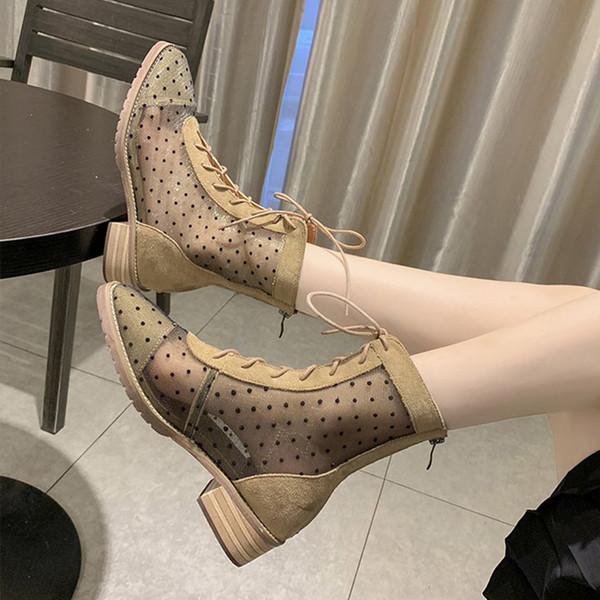 Vente chaude-Femmes Cheville Bottes Polka Dot Mesh Respirant Mi Talons Bottes Bout Carré À Lacets Pour Dames Botas 2019 Mode Nouvelle Automne Casual Chaussures