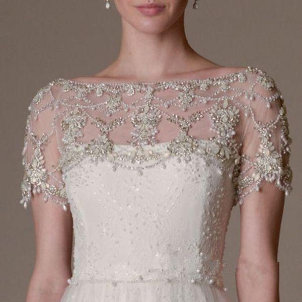 New Luxury Crystals Sexy Short Sleeves Lace Wedding Bridal Bolero Jacket Shawl White/Ivory Custom Made Size 2 4 6 8 10