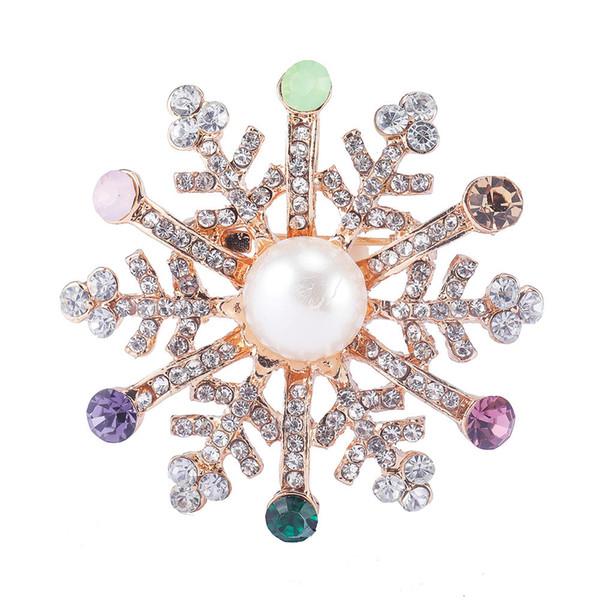 Moda variopinti eleganti Snowflake Spille Perni per donna femminile maglione Broche Broach abbigliamento Chirstmas regalo