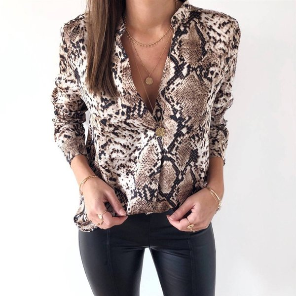 8b679af1915d Women V-neck Leopard Print Loose Tops Ladies Long Sleeve Casual Shirt  Blouse Autumn Spring