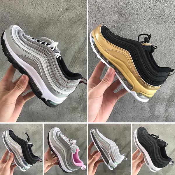 Compre Nike Air Max 97 Bebé Niños 97 Zapatos Kanye West Zebra Zapatos Para Correr 2019 Niños Athletic Beluga 2.0 Zapatillas Deportivas Negro