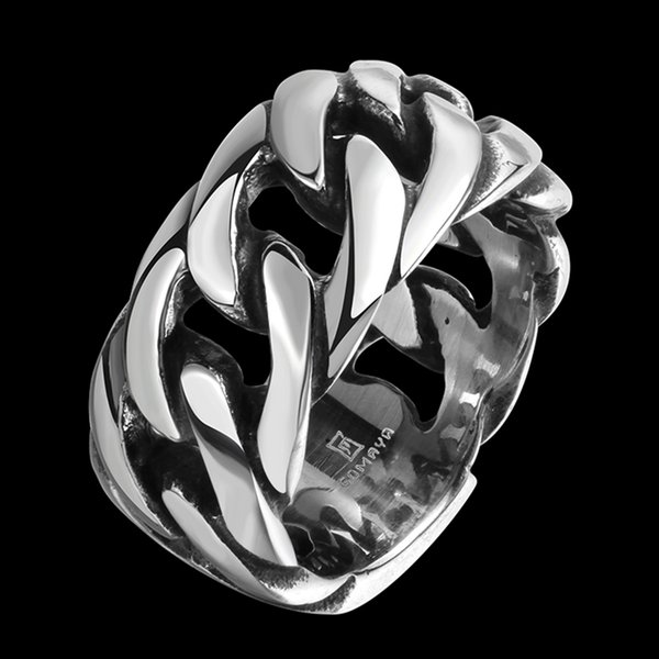 Hiphop Generous Ring Chain Bone Rock&Roll Stainless Steel Circle Double Layer Band Ring Punk Individuality Jewelry Birthday Gift POTALA108