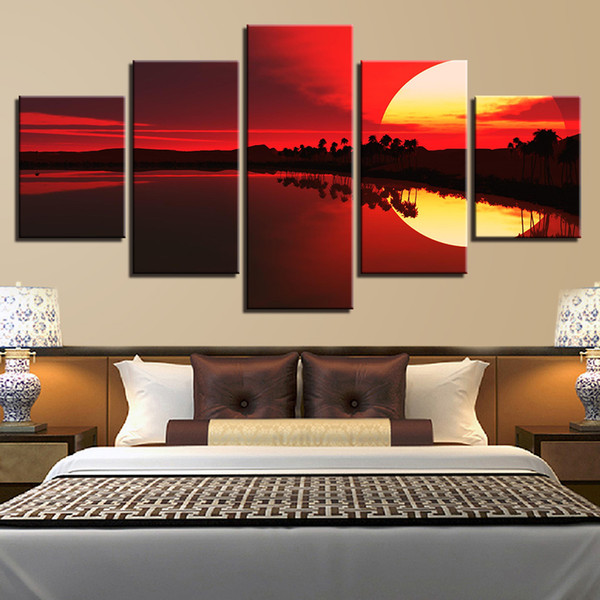 Decoration Modern Prints Wall Art 5 Pieces Red Sky Lake Forest Sunset Scenery Paintings Poster Framework Modular Pictures Canvas