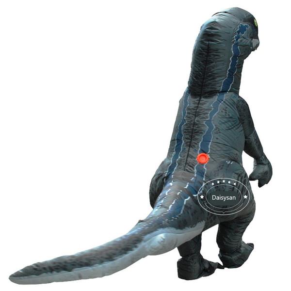 Jurassic World Velociraptor Costume da dinosauro gonfiabile blu Costume da dinosauro fantasia per adulti Costume Cosplay di Halloween