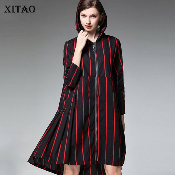 XITAO Print Striped Women Trench Korea Fashion Wide Waist Hooded Collar Plus Size Cardigans 2019 Autumn Hit Color Coat WQR1464