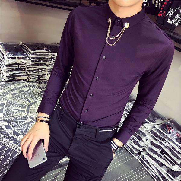 2019 camisas de esmoquin nuevo estilo moda hombre color puro de primavera delgado ocasional de manga larga camisa / hombre de alta calidad camisas de negocios de solapa