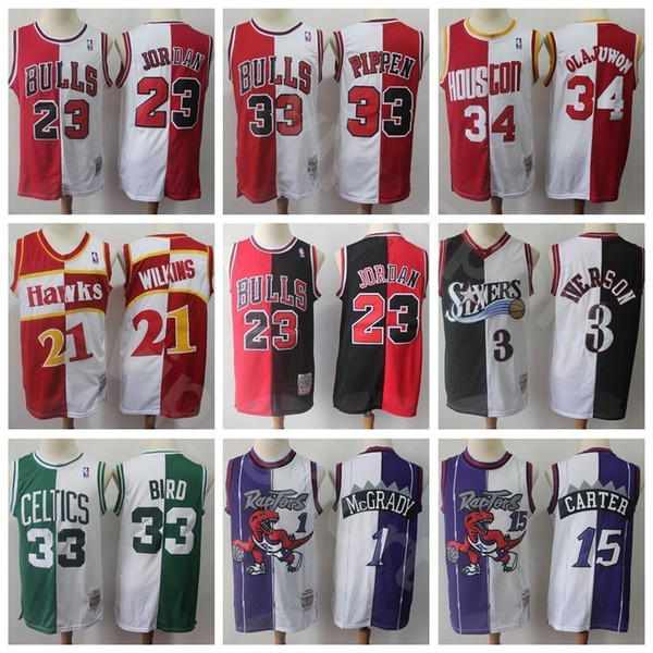 online store bd48c 3cec9 2019 Split Two Colors Basketball Jersey 23 Michael Allen Iverson Pippen  Hakeem Olajuwon Tracy McGrady Vince Carter Dominique Wilkins Larry Bird  From ...