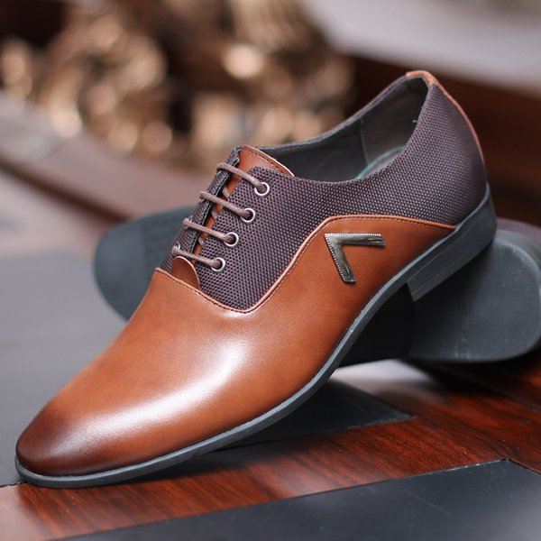 Masorini Leather Dress Shoes Men's Black Brown Camel Oxford Shoes Formal Office Business British Lace-up Man Wedding Shoe WW-600
