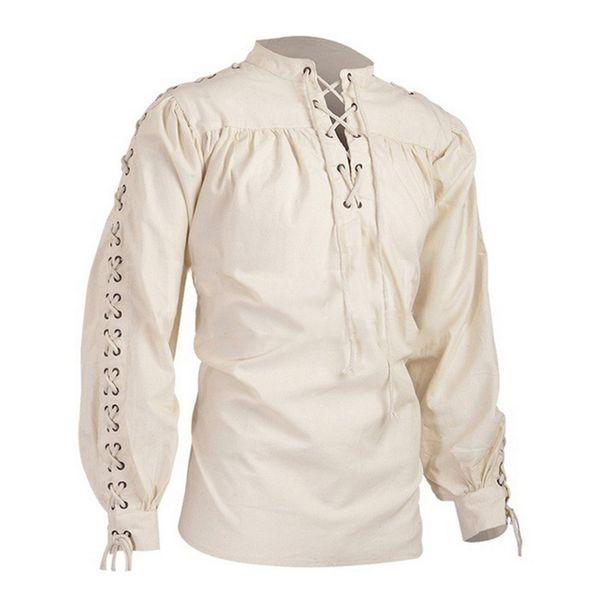 OEAK Homens Medieval Cavaleiro Guerreiro Traje Túnica Roupas Top Camisa Masculino Retro Lace up Halloween Viking Renascimento Camisa Pirata