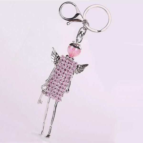 Llavero de las mujeres vestido de diamantes de imitación de colores muñeca llaveros bolso del coche colgante diy joyería de moda hecha a mano llavero regalos para niña