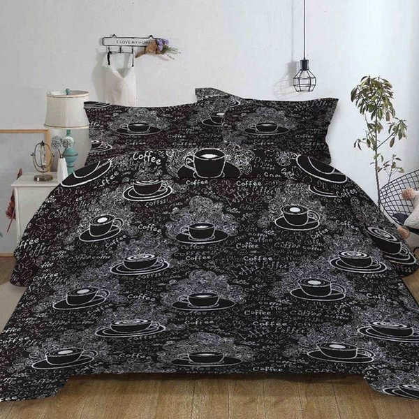 RHW NEW Duvet Cover with Pillow Case Bedding Set 2019 Single Double King Super King Style Black, Double BLAKE