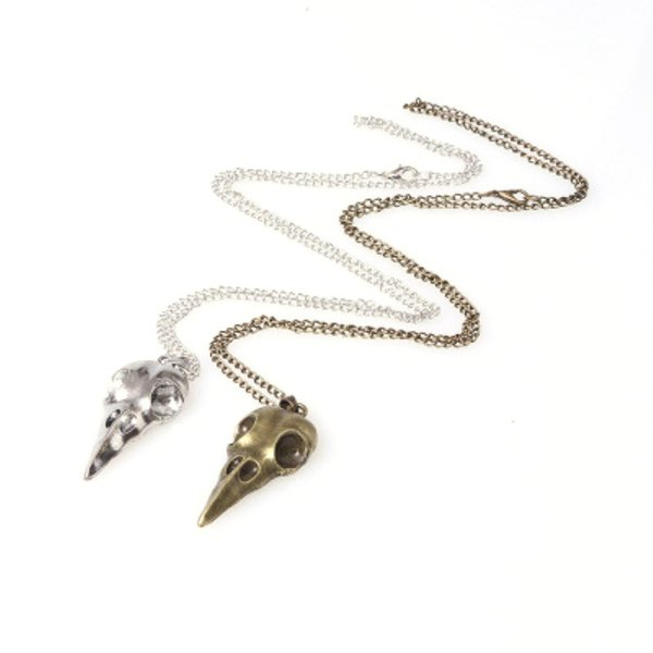High Quality European & American Punk Stereo Metal Crow Skull Pendant Necklace Halloween Jewelry Ornaments Rock Silver Black Necklaces Gift