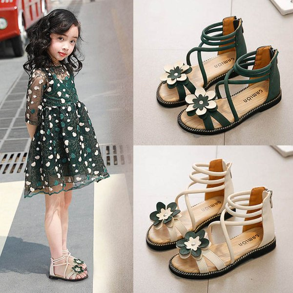 Girls Roman Shoes 2019 new Summer floral girls shoes princess kids shoes Beach Girls Sandals Kids Sandals Fashion Gladiator Girl Shoe A3809