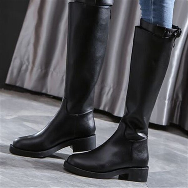 Compre Botas Altas Para El Muslo Negro Mujer Botas Invierno Punta Redonda Cinturón Hebilla Cuero Caballero Montar Rodilla Botas Altas Zip Zapatos De