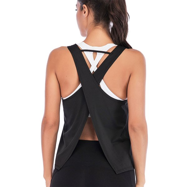 Femmes chaudes Sportswear élastique Cross Back Gilet Solid Color Tops pour Yoga DO2