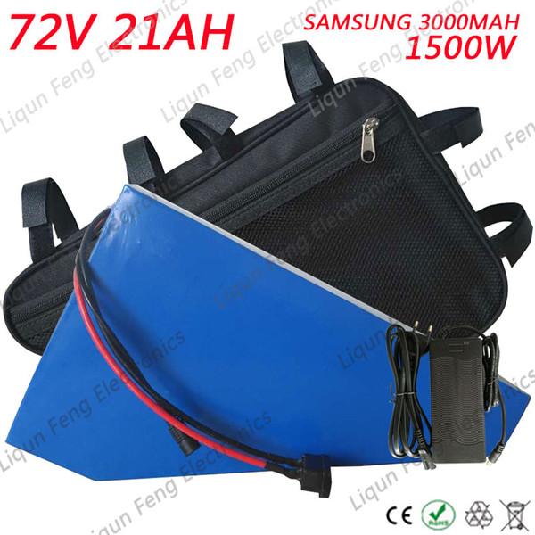 Ücretsiz Gümrük Vergisi Üçgen 72V 21AH Li-İyon Batarya 72V 21AH 1500W Elektrikli Bisiklet Bataryası, 50A BMS ile Samsung 3000 MAH hücresini kullanır.