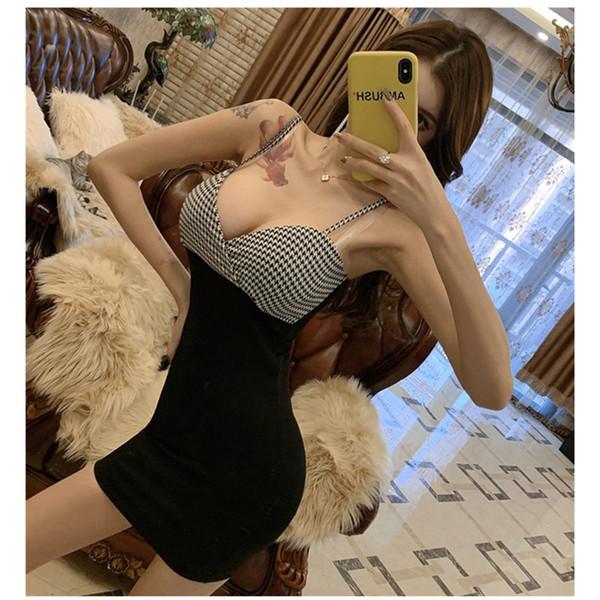 Novo contraste de cor costura sexy boate magro emagrecimento hip vestido fábrica dectory venda quente frete grátis Q11