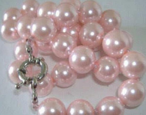 necklace Free shipping +++Beautiful! 8mm Pink South Sea Shell Pearl Necklace