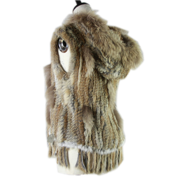 Harppihop fashion rabbit fur vest raccoon fur trimming knitted rabbit vest with hood waistcoat gilet