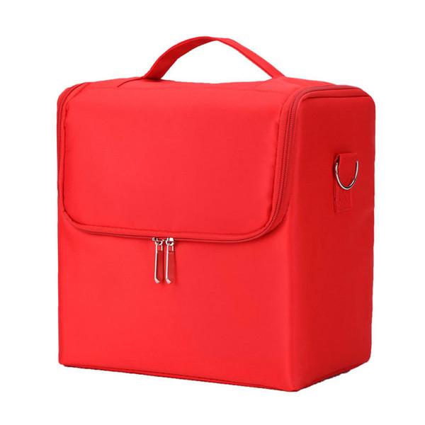 Professional Multilayer Makeup Bag Organizer Vanity Case Nail Art With Carry Strap Zipper Cosmetics Nylon Box Portable Storage J190612