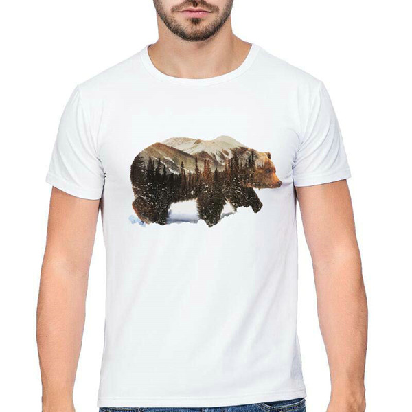 Ursus t shirt Bear arctos short sleeve tops Outdoor wild view fadeless tees Unisex white colorfast clothing Pure color modal tshirt