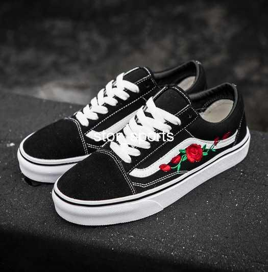 2020 Vans Old Skool X AMAC Customs High Top Skateboard Women Men Casual Shoes Rose Embroidery Vans Designer Canvas Skate Sneakers 36 44 Munro Shoes