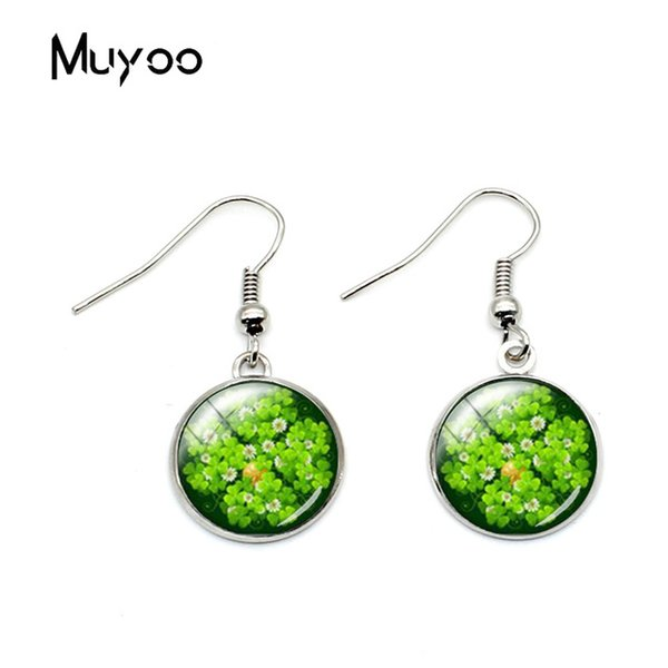 2019 New Fashion Green Clover Full of Life Glass Dome Fish Hook Earrings Lucky Clover Style Art Printed Womens Hook Earrings