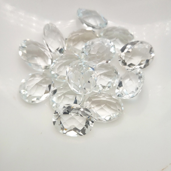 Natural White Topaz Oval Checkboard Cut High-end 100% Real Semi-precious Stone 10x8-14x10mm Loose Gemstone For Jewelry Making 10pcs/Lot