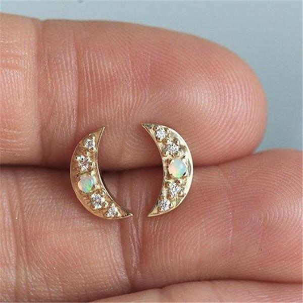 Moonstone Crescent Boucles D'oreilles pour Femmes Bijoux Indiens Or Couleur Exquis Boucles D'oreilles Bohème Bijoux Femme S5M210