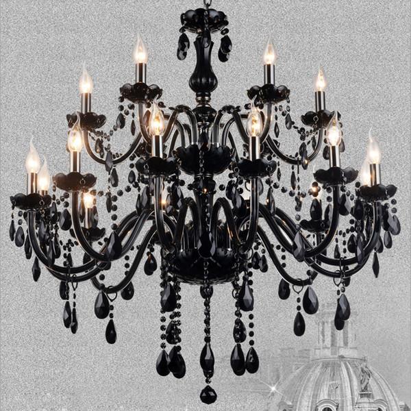 Black Crystal Chandelier Light Modern LED Hanging Lamp for Living Room Bedroom Indoor Lighting Fixture Home Decoration Luxury