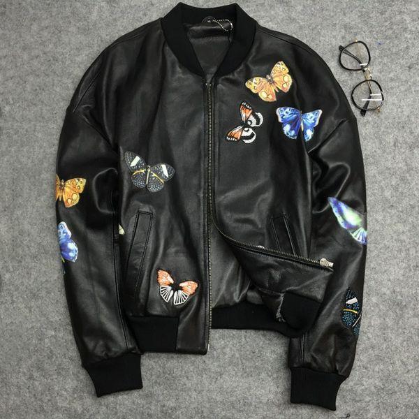 2019 Frühling Herbst Frauen bestickt Schmetterling Lederjacken Mode echte Schaffell Bomberjacken Mantel D947