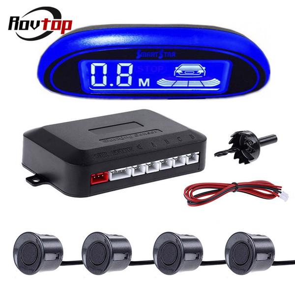 Rovtop voiture Auto Parktronic LED Capteur de stationnement avec 4 capteurs Reverse Backup Parking Radar Moniteur Détecteur de voiture Système