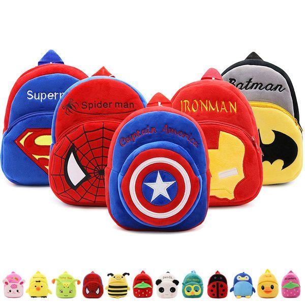 Kids Cute Cartoon Plush Backpack Toddler School Bag Superhero Plush Nursery Shoulder Backpack For Baby Zipper Plush Children Backpack Bag
