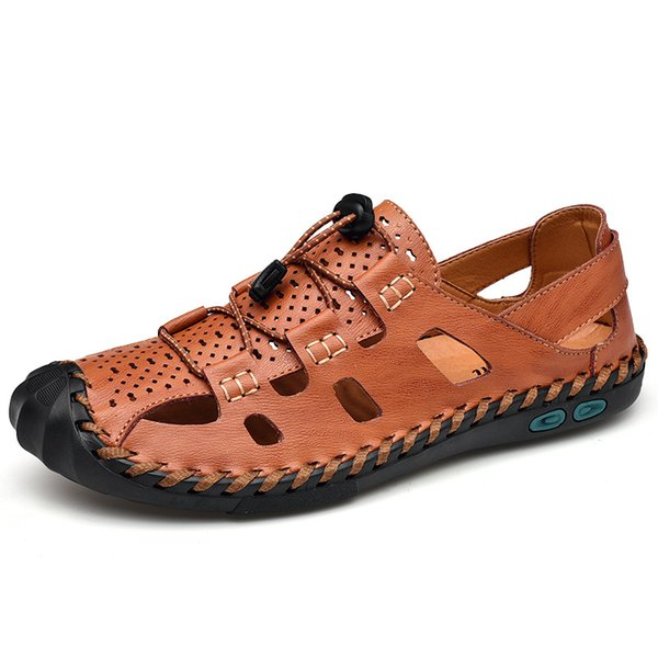 Мужская Обувь Кожаные Сандалии Роскошные Удобные Мягкие Летние Мужские Повседневные Модные Тапочки Римские Открытые Пляжные Сандалии Большой Размер 38-48