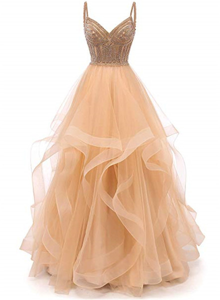 Tulle Crystal Beaded Prom Dresses Tiered Formal Evening Dresses Spaghetti Strap Ball Gown