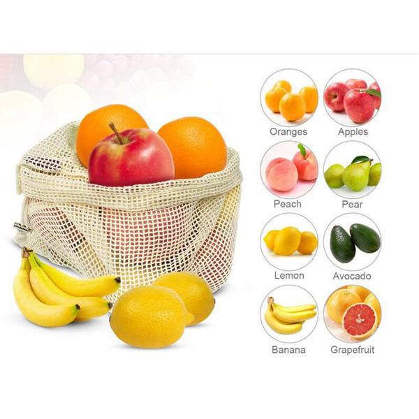 Sacs réutilisables de qualité supérieure de maille / de produit Sacs de légume de coton organique voir-à travers le sac de fruit