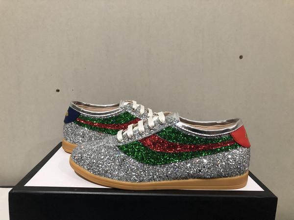 Yeni lüks adam kadınlar tasarımcı ayakkabı en kaliteli orijinal kutusu ile resmi süperstar glitter sneakers kırmızı büyük boy 35-45