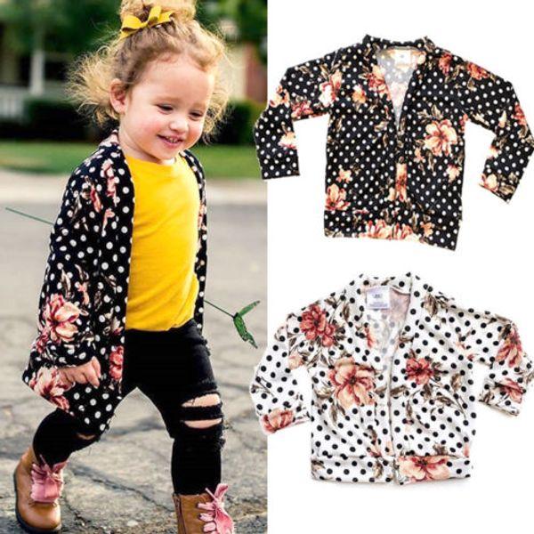 2019 Brand New Spring Autumn Fashion Infant Kids Baby Girls Boho Cardigan Coat Floral Dot Print Open Stitch Slim Outwear 6M-5T