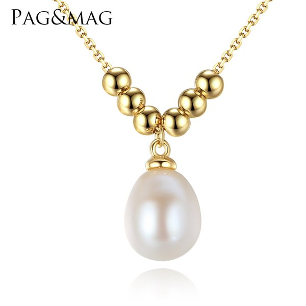 PAG&MAG S925 Pure Silver Natural Freshwater Pearl Lady Necklace Electroplated 18K Real Gold Korean Simple Baitie Necklace