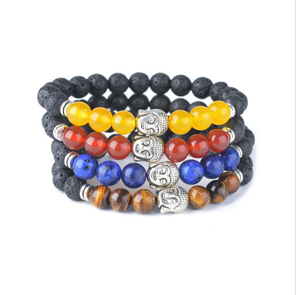 Buddha Head 8MM Natural Black Lava Stone Beads Bracelet Volcano DIY Essential Oil Diffuser Bracelet Jewelry