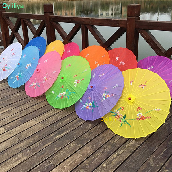 top popular Adults Size Japanese Chinese Oriental Parasol handmade fabric Umbrella For Wedding Party Photography Decoration umbrella props candy colors 2021