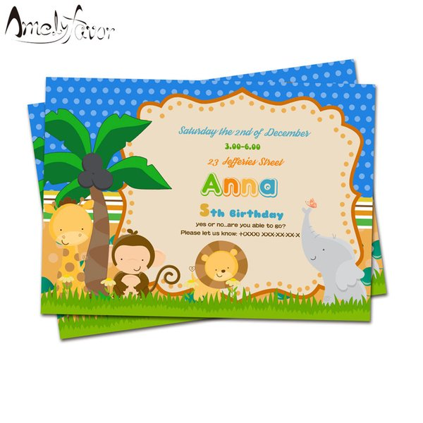 Jungle Animals Theme Party Invitation Card Birthday Party Event Safari Animal Decorations Supplies Blank Custom Made Invitations Personalized