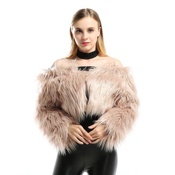 European and American Fur Coat New Sexy Plush Word Collar Faux Fur Artificial Hair Ultra Short Coat Shawl Cardigan Women