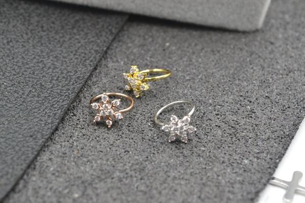 10pcs Body Jewelry Piercing - CZ Shining Ear Diaht Ring Helix Cartilage Bar Lip Piercing Bend Nose Septum Ring 18g Snowflower