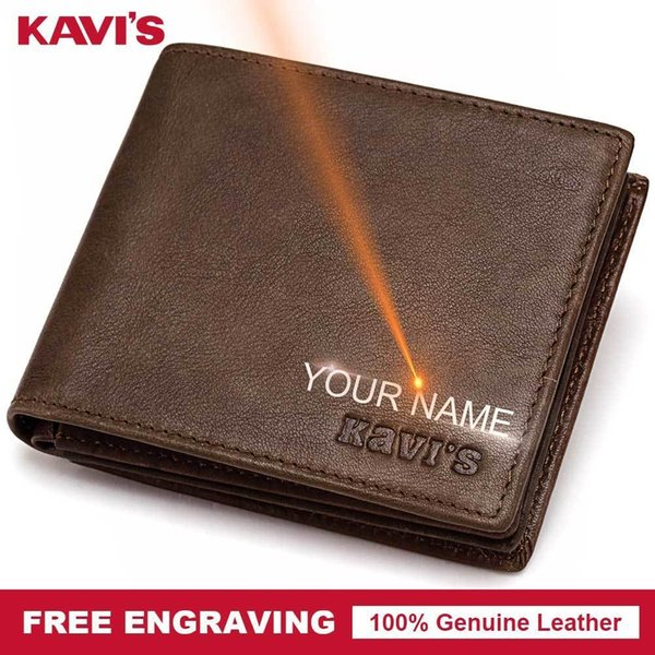 Free Engraved Genuine Leather Wallet Men Coin Purse Gift For Male Purse Portfolio Money Pocket Perse Walet Any Diy Name
