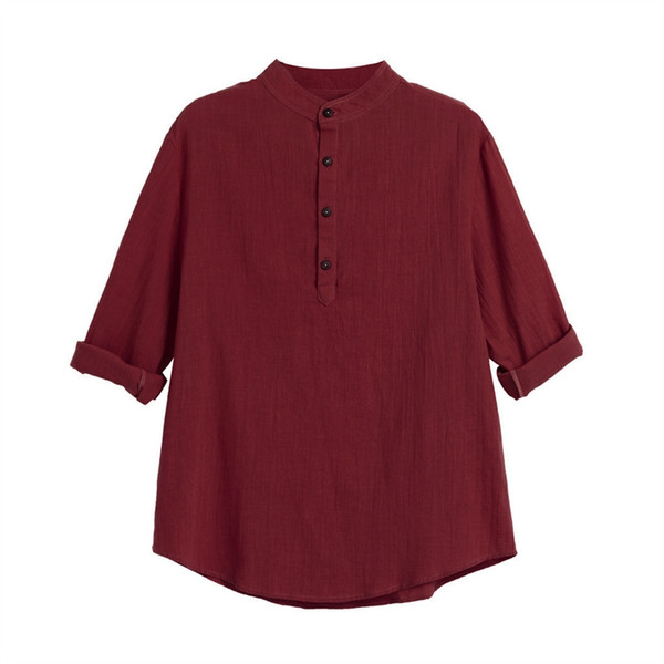 Fashion Casual Loose Shirt Mens Long Sleeve Henley Bamboo Fiber Shirt Stand Collar Solid Color Tops Blouse Large Size Blusas /PT #444732