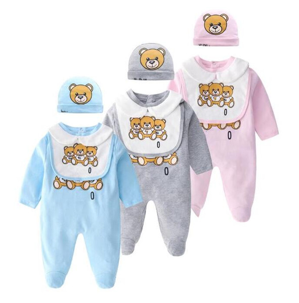 2019 Retail Baby Rompers Baby Girl Boy Clothes kids clothes Newborn romper Infant Jumpsuits cartoon printed Long sleeves romper + hat + bib